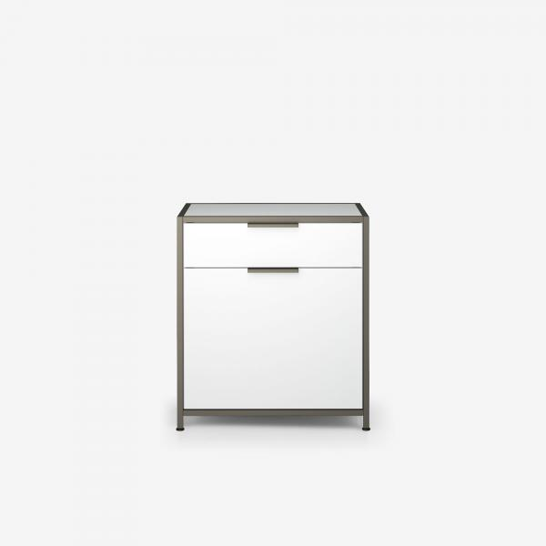 NIGHT CHEST 1 DRAWER RIGHT-HINGED DOOR / WHITE LACQUER Ligne Roset
