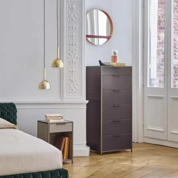 NARROW CHEST 6 DRAWERS PERLE LACQUER Ligne Roset