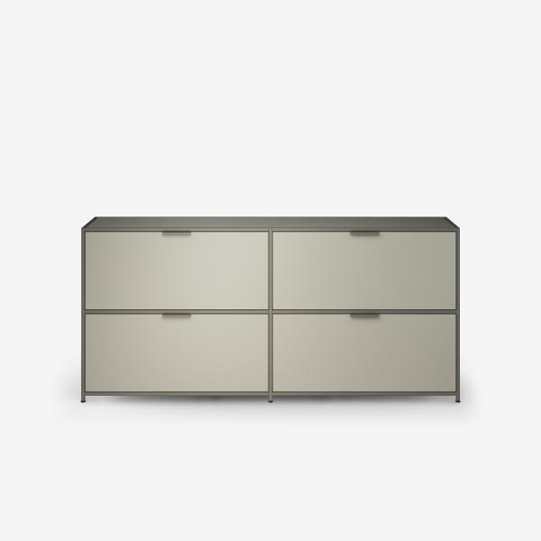 SIDEBOARD 2 DRAWERS FOR SUSPENDED FILES + 2 FLAP DOORS ARGILE LACQUER Ligne Roset