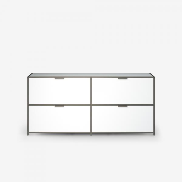 SIDEBOARD 2 DRAWERS FOR HANGING FILES + 2 FLAP DOORS WHITE LACQUER Ligne Roset