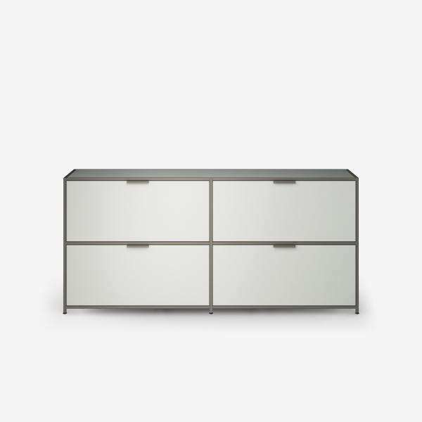 SIDEBOARD 2 DRAWERS FOR HANGING FILES + 2 FLAP DOORS PERLE LACQUER Ligne Roset
