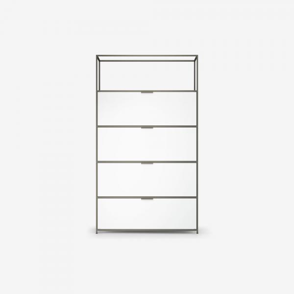 HIGH UNIT 3 FLAP DOORS + 1 DRAWER FOR HANGING FILES WHITE LACQUER Ligne Roset