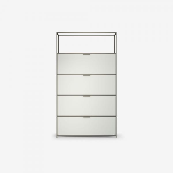HIGH UNIT 3 FLAP DOORS + 1 DRAWER FOR HANGING FILES PERLE LACQUER Ligne Roset