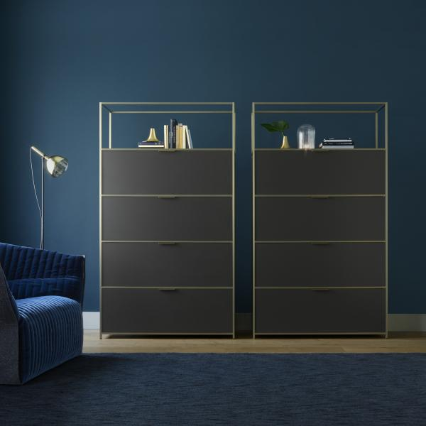 HIGH UNIT 3 FLAP DOORS + 1 DRAWER FOR SUSPENDED FILES PERLE LACQUER Ligne Roset