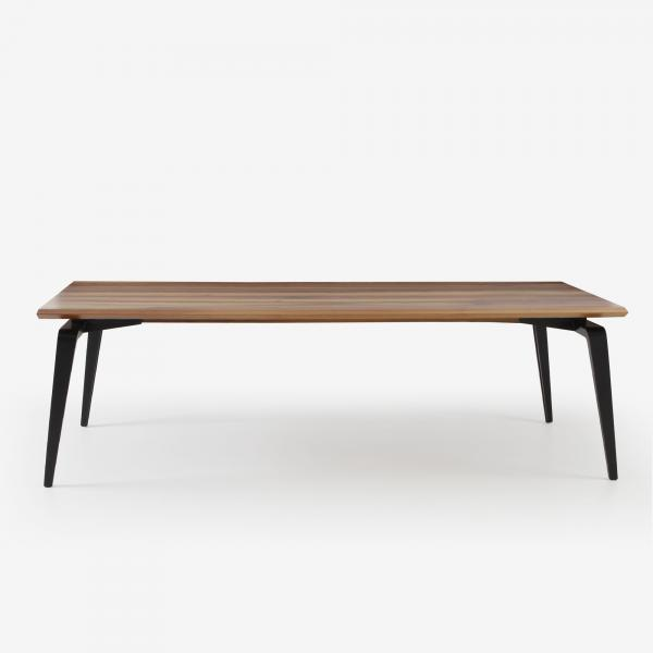 RECTANGULAR DINING TABLE BLACK LACQUERED BASE WALNUT Ligne Roset
