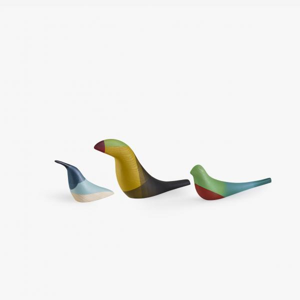PÁJAROS SET OF 3 DECORATIVE BIRDS COLORED Ligne Roset
