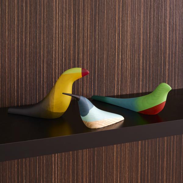 PÁJAROS SET OF 3 DECORATIVE BIRDS COLORED Ligne Roset