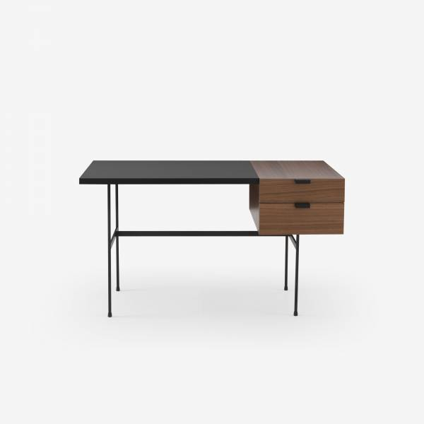 DESK WALNUT + BLACK FENIX LAMINATE FRAME IN CIRCULAR TUBING Ligne Roset