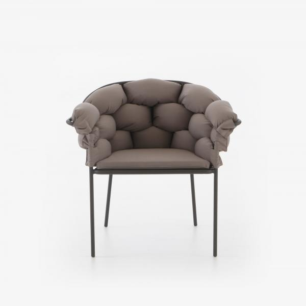 CHAIR WITH ARMS TAUPE / CHARCOAL STRUCTURE Ligne Roset