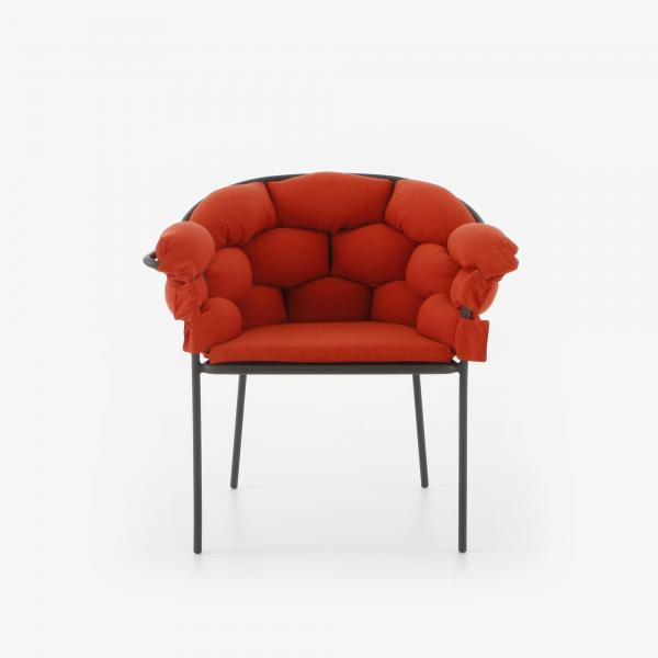 CHAIR WITH ARMS TERRA COTTA / CHARCOAL STRUCTURE Ligne Roset