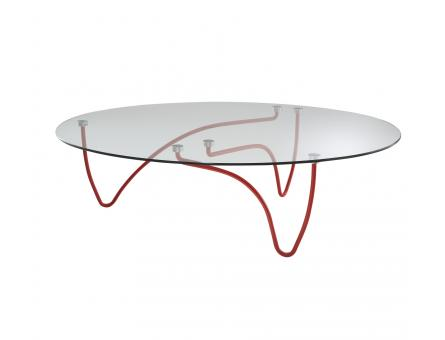 OVAL OCCASIONAL TABLE CLEAR GLASS TOP RED LACQUERED BASE Ligne Roset