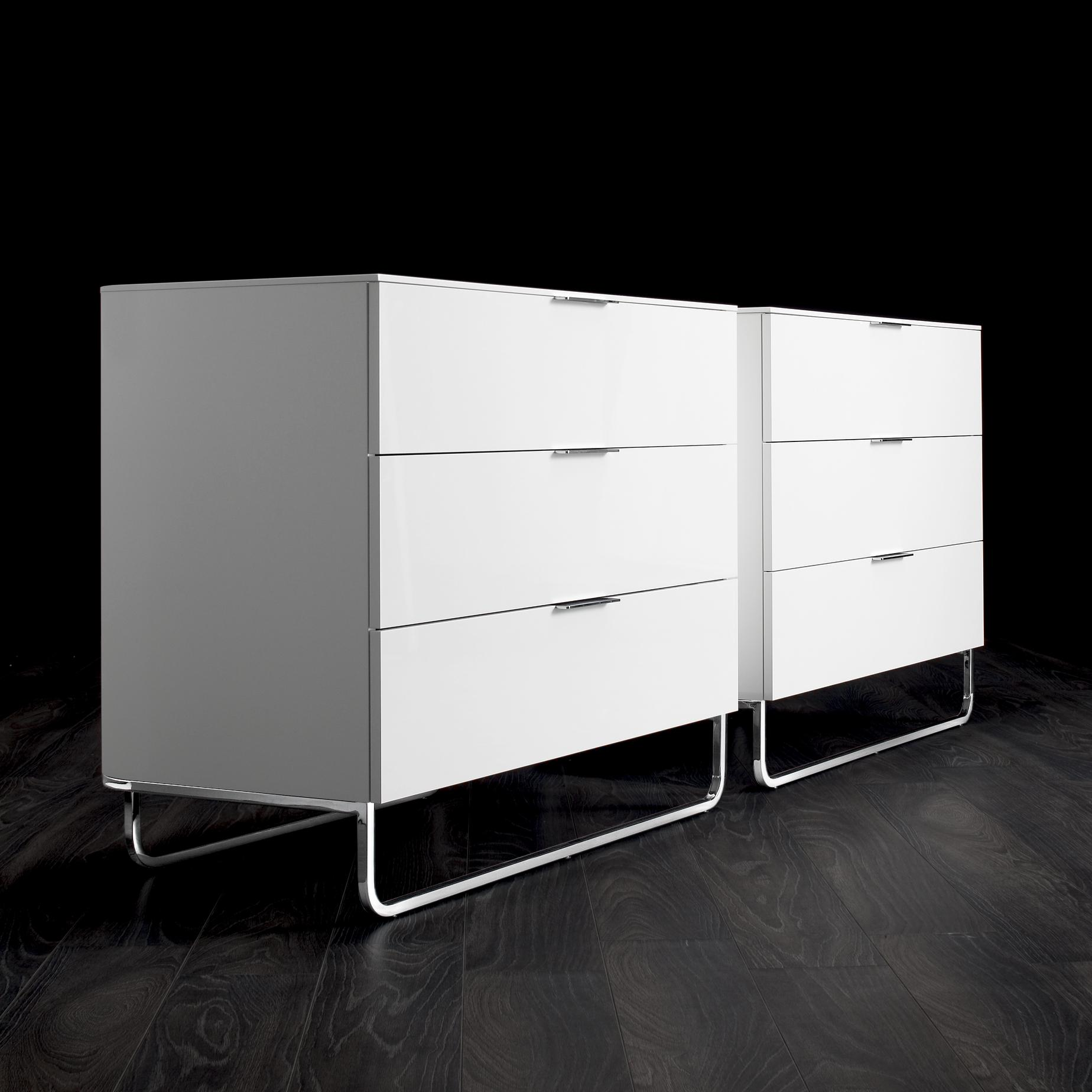 NIGHT CHEST 2 DRAWERS GLOSS WHITE LACQUER Ligne Roset
