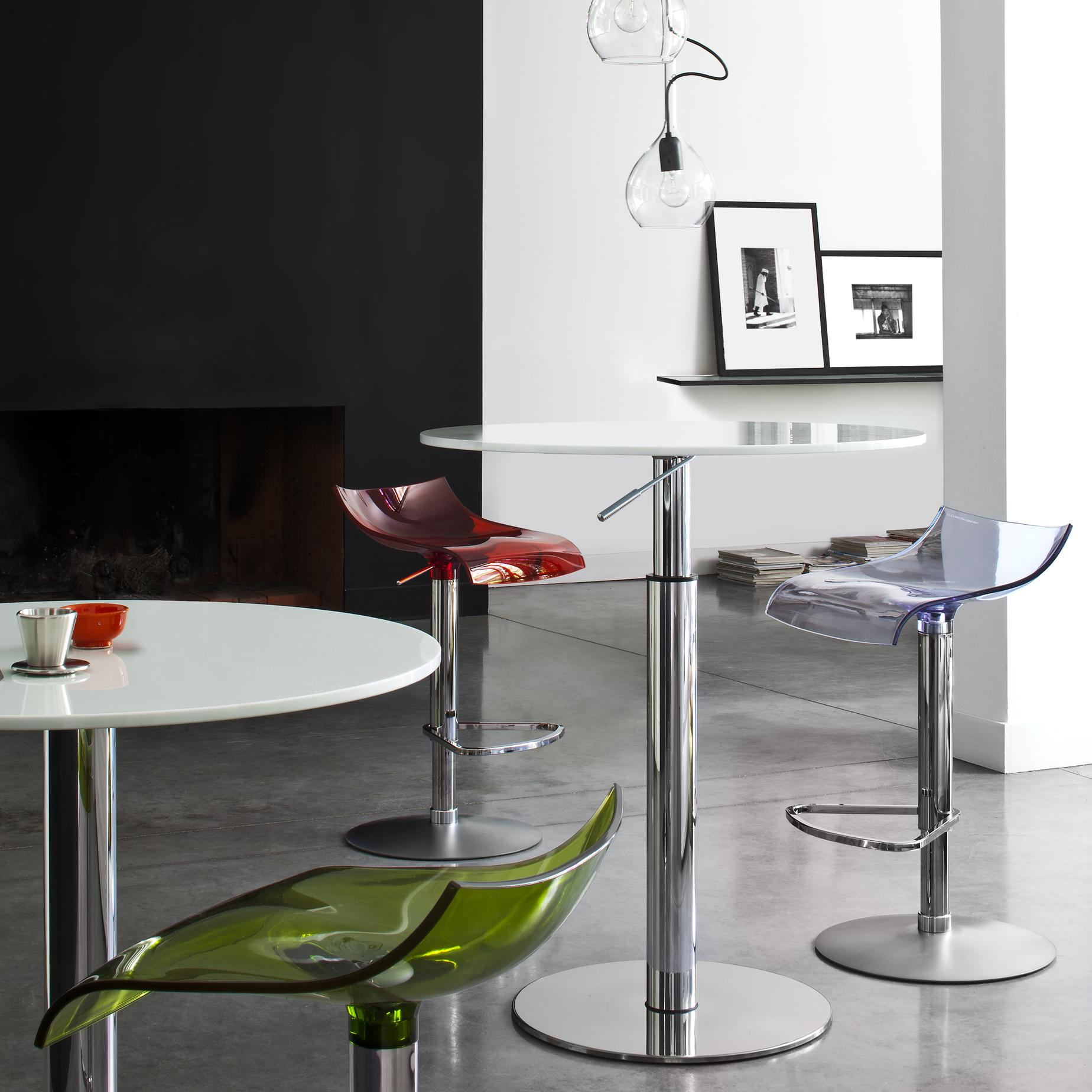STOOL WHITE 'SYNDERME' LEATHER  Ligne Roset
