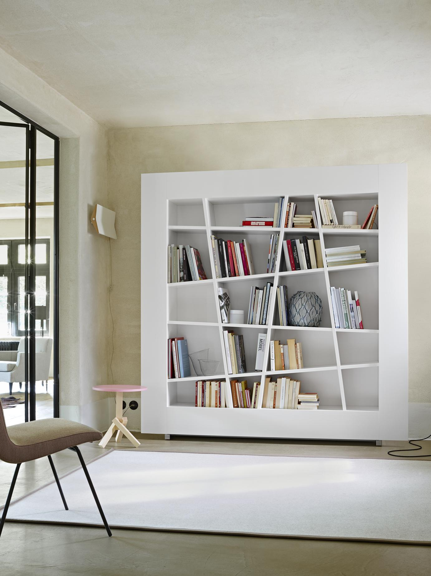 SIDEBOARD 2 DRAWERS + 1 FLAP DOOR CHROMED STEEL FEET / GLOSS WHITE LACQUER Ligne Roset